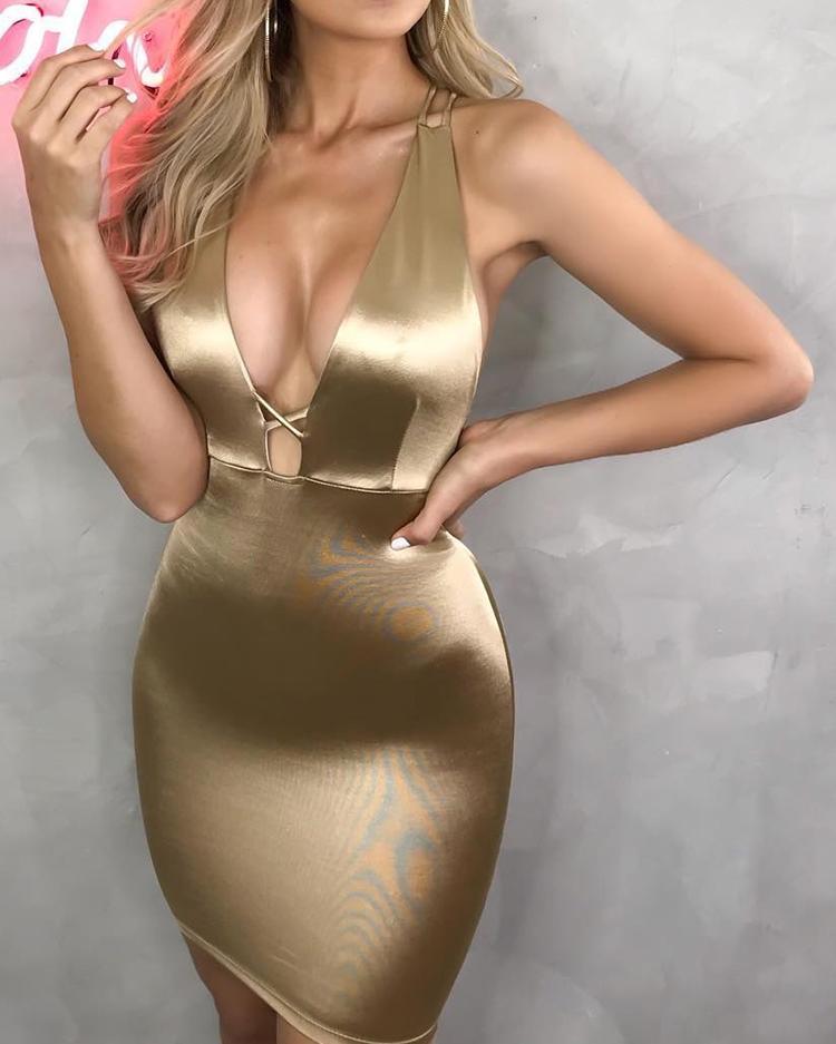 ivrose / Vestido de fiesta con espalda cruzada de Plunge