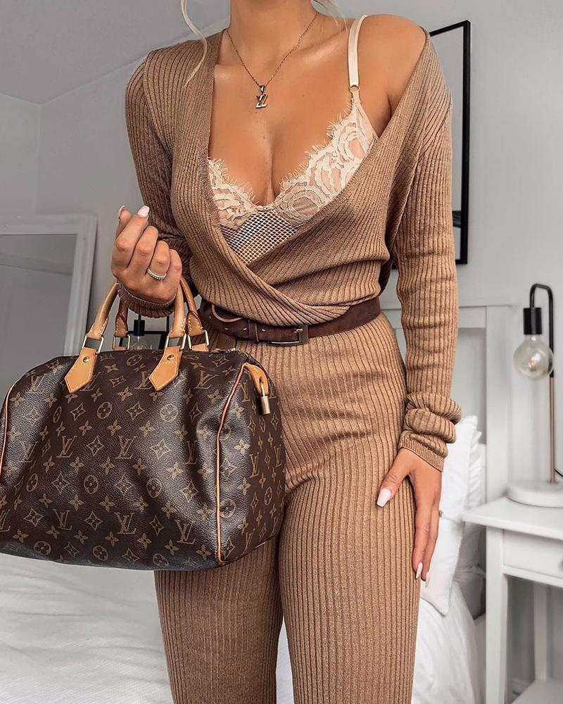 chicme / Long Sleeve Ribbed Casual Jumpsuit