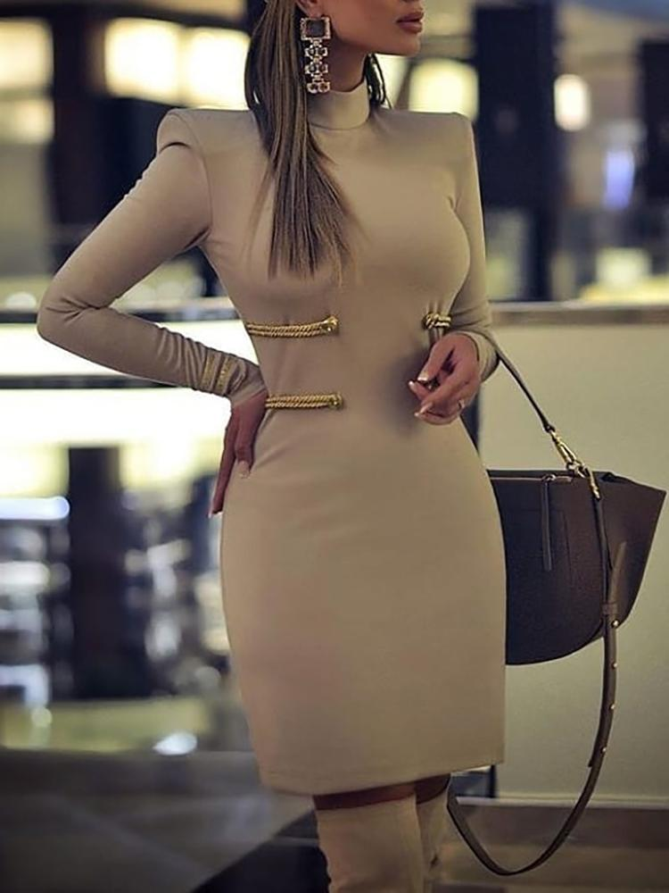 Long Sleeve Padded Shoulder Bodycon Dress фото
