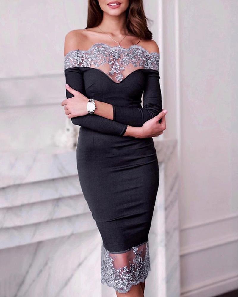 Off Shoulder Lace Insert Midi Dress