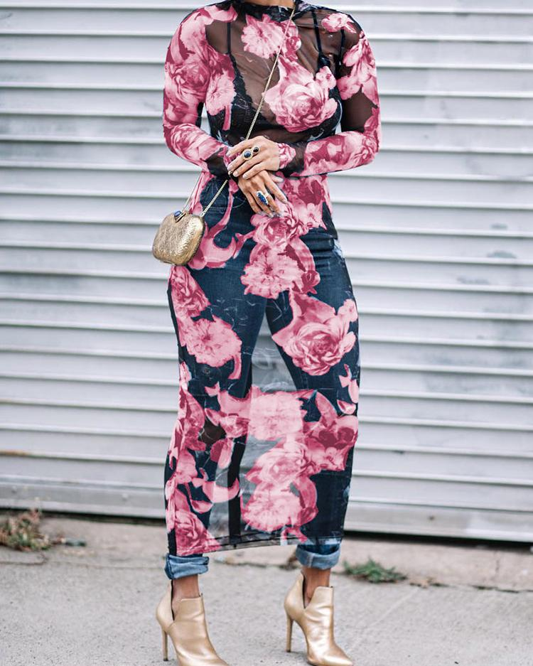 Floral See Through Bodycon Midi Dress