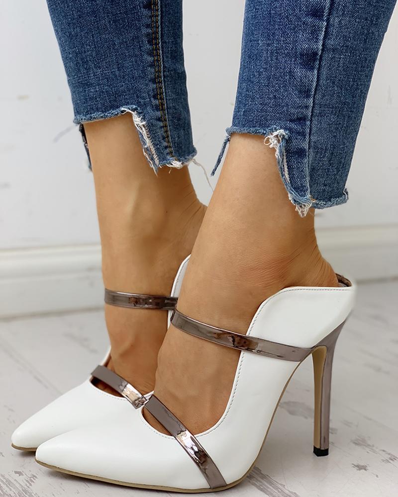Pointed Toe Slingback Thin Heels