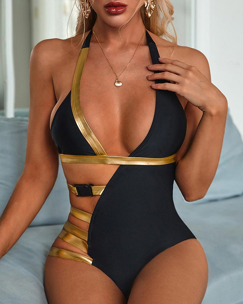 Cutout Halter Backless One Piece Swimsuit фото