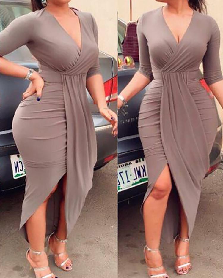 Купить со скидкой Elegant Women Pleated Slit Bodycon Dress