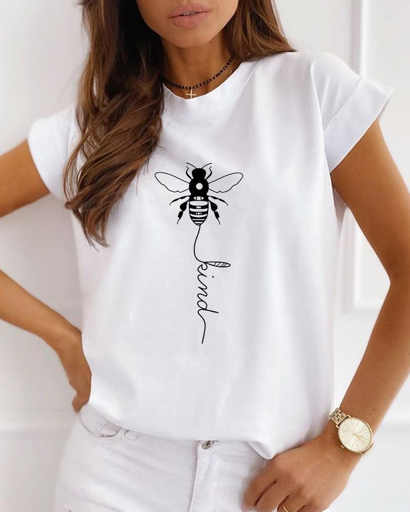 Bee Print Short Sleeve Casual T-shirt фото