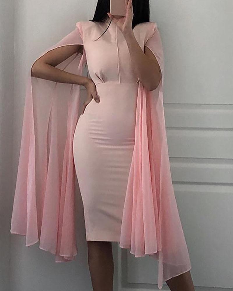 Mesh Sleeve Cape Design Midi Dress