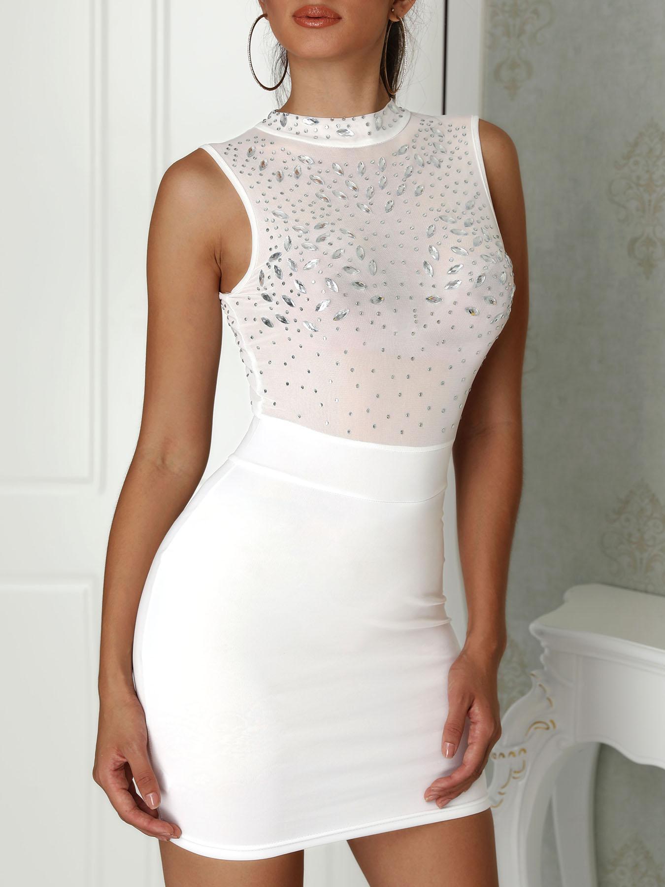 joyshoetique / Shiny Embellished Mesh Splicing Bodycon Dress