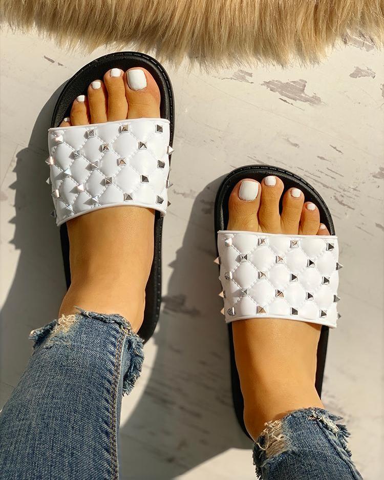 Rivet Design Open Toe Slippers