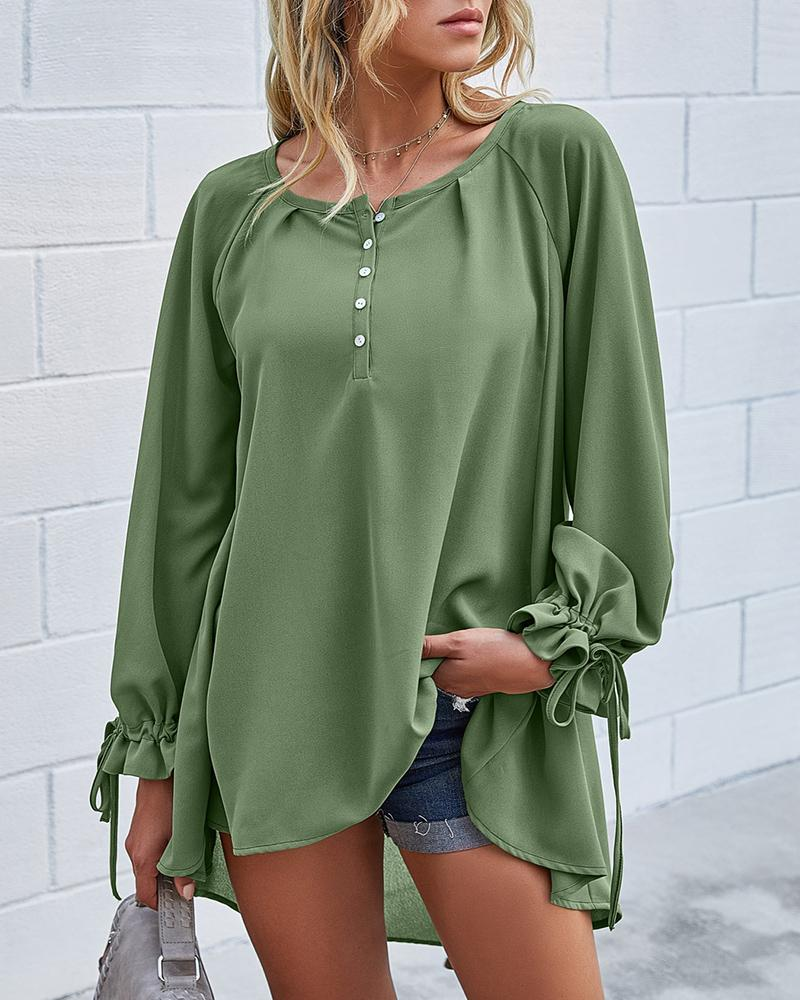 Solid Buttoned Ruffles Casual Top фото