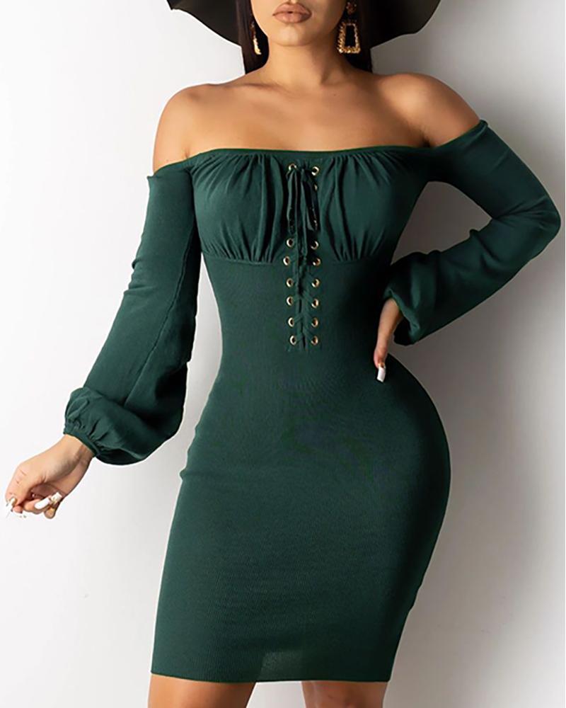 Eyelet Design Off Shoulder Bodycon Dress, Green