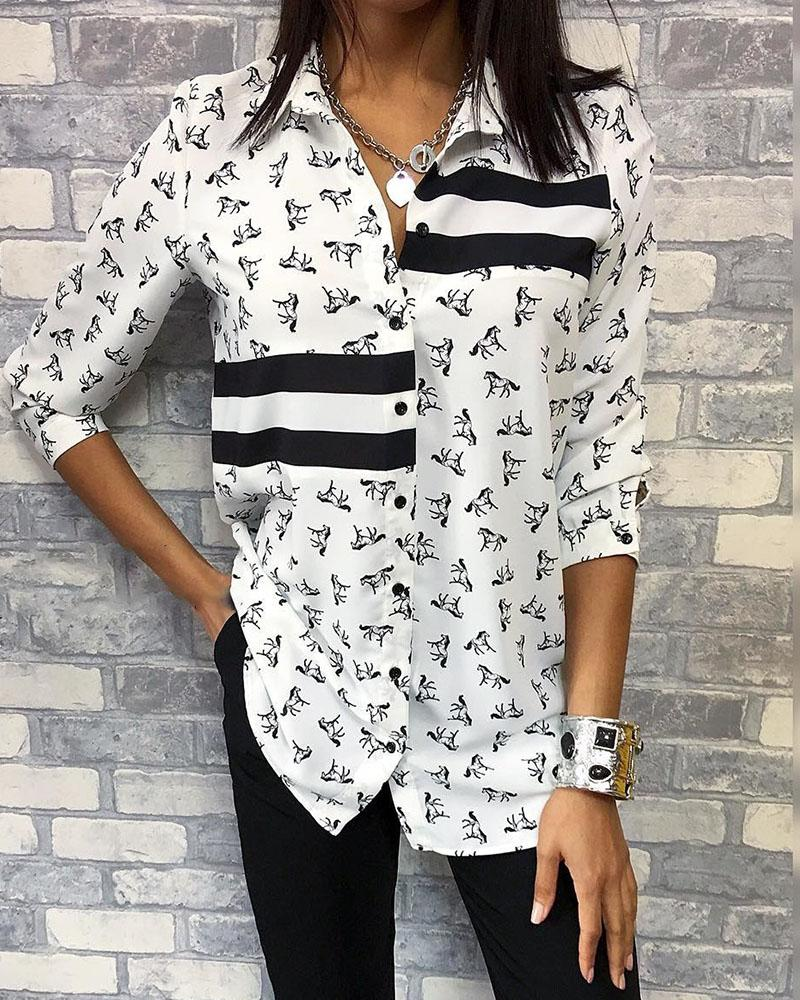 Horse Pattern Contrast Striped Shirt фото