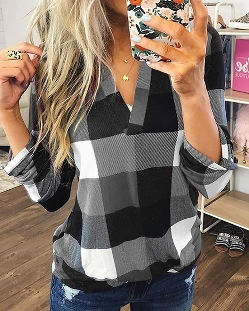 Grid Print V-Neck Casual Blouse фото