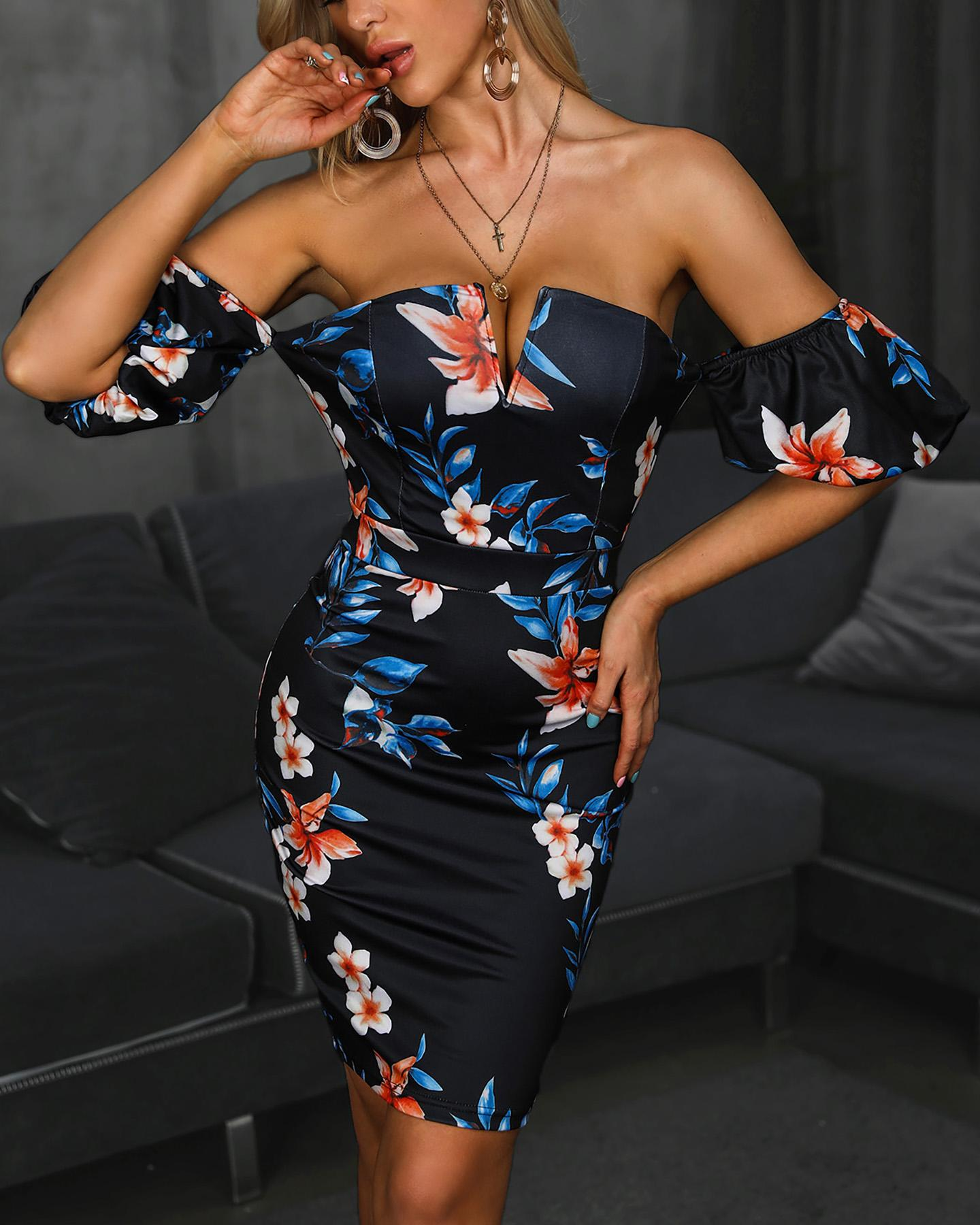 Floral Plunge Off Shoulder Bodycon Dress