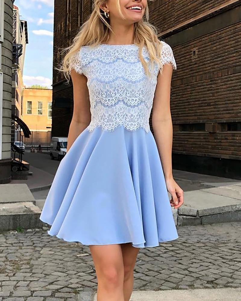 Eyelash Lace Bodice Pleated Dress фото