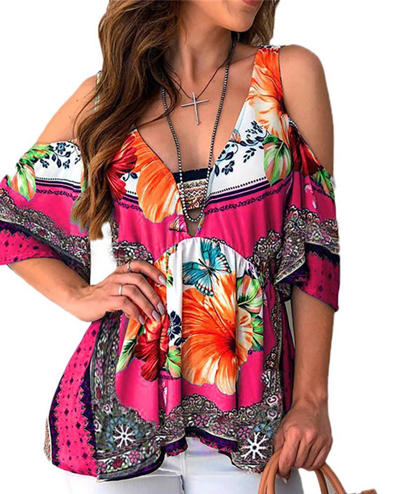 boutiquefeel / Top con estampado floral con cuello en V y hombros descubiertos