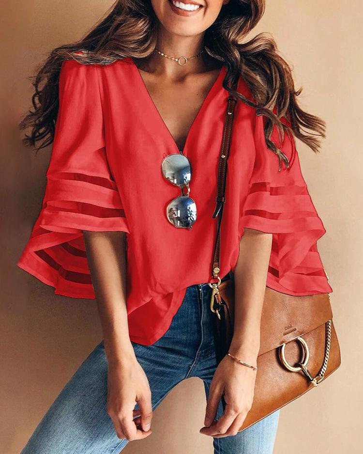 Solid Mesh Splicing Flared Half Sleeve Blouse фото
