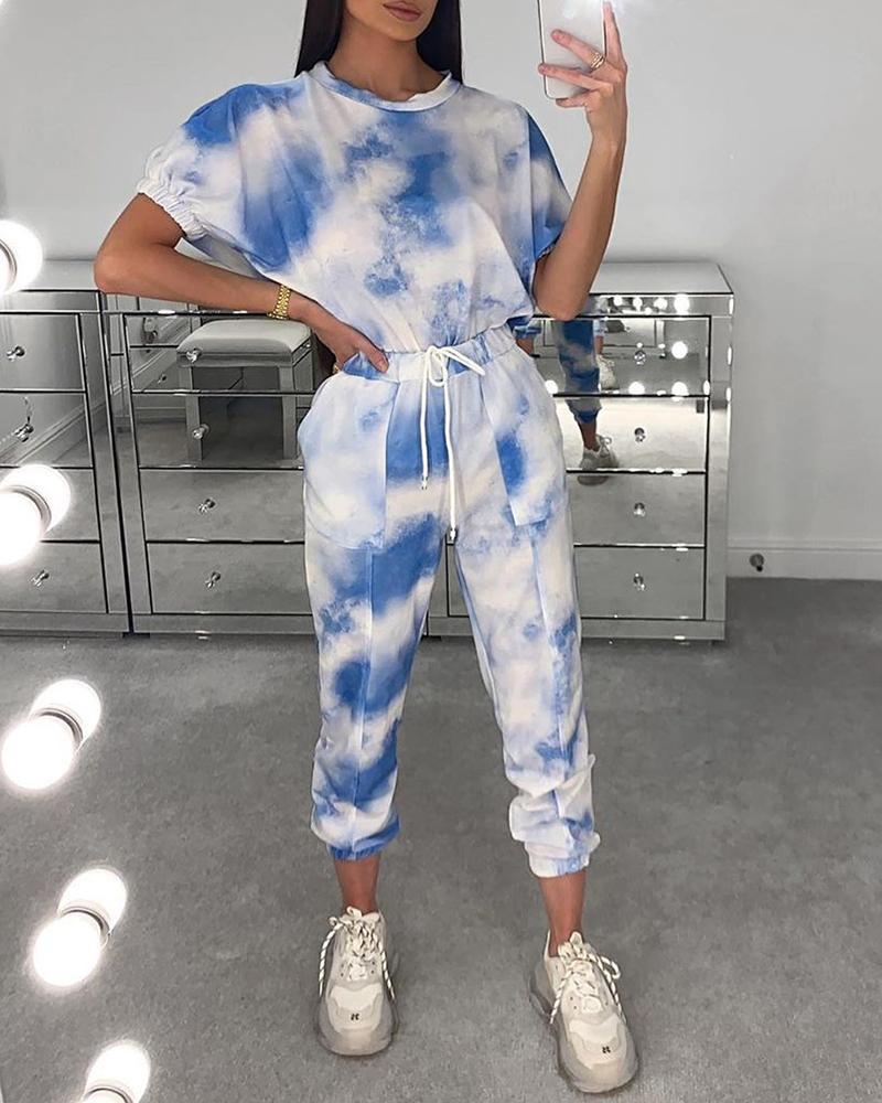 chicme / Tie Dye Print Drawstring Top & Pants Set