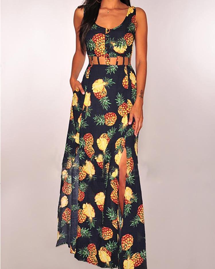 Pineapple Print Hollow Out Waist Slit Maxi Dress