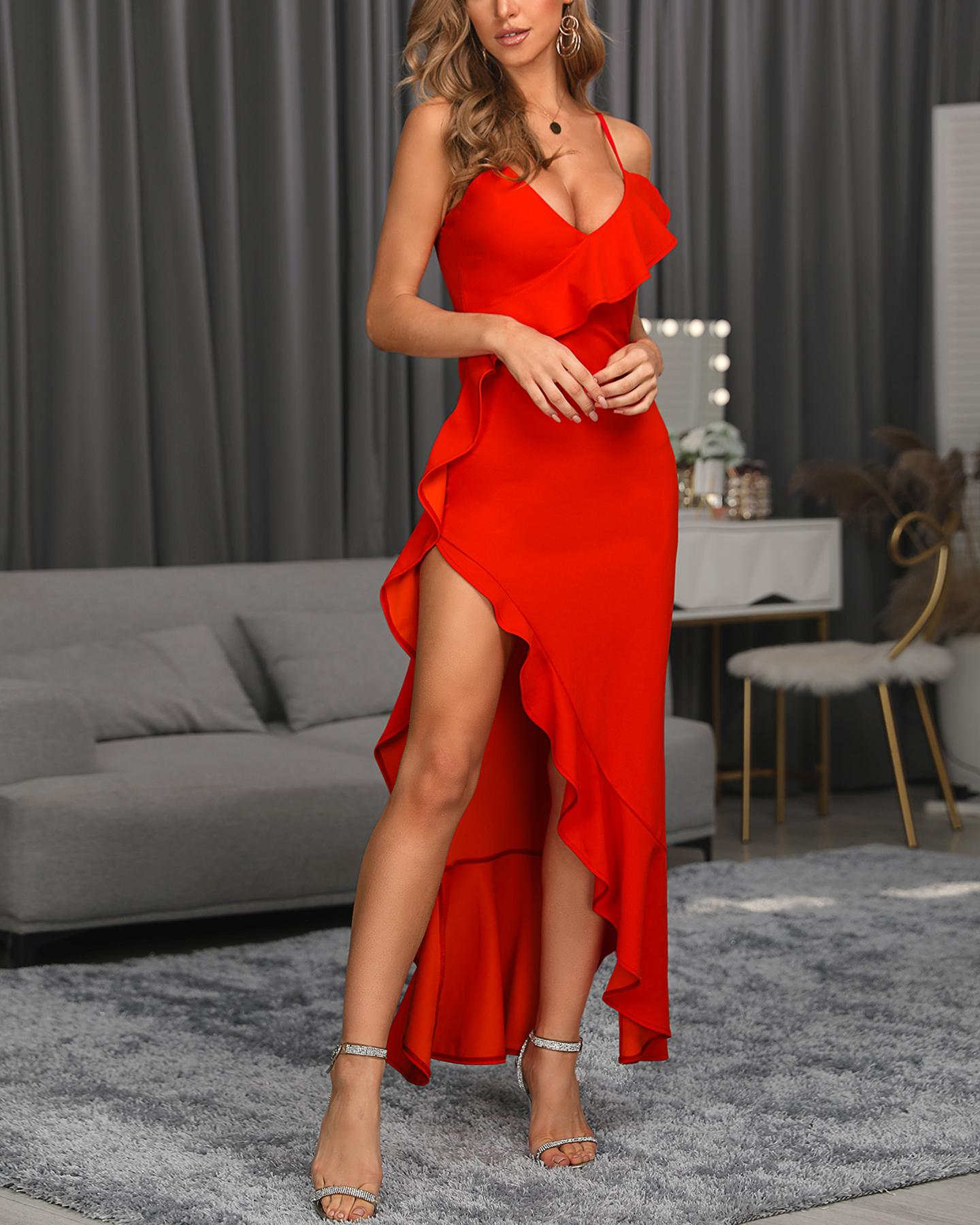 Halter Ruffles Hem High Slit Evening Dress фото