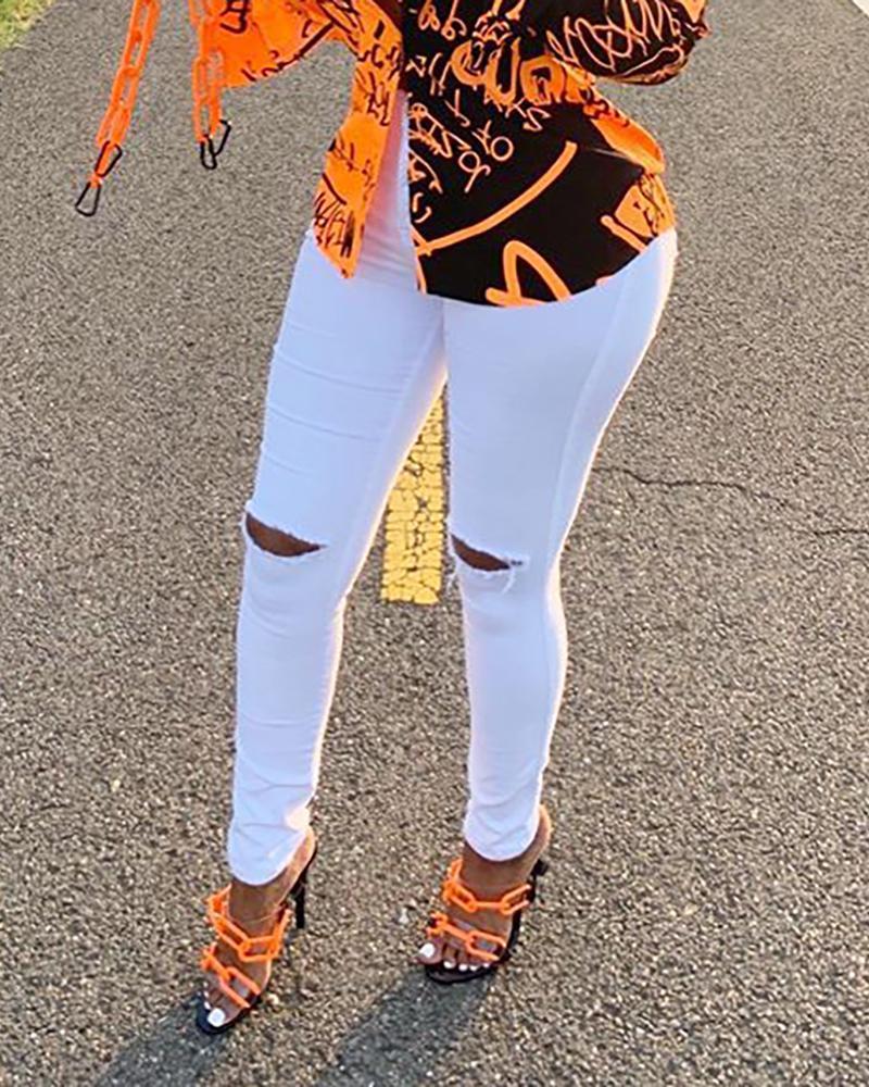 chicme / Diseño recortado Casual Solid Jeans