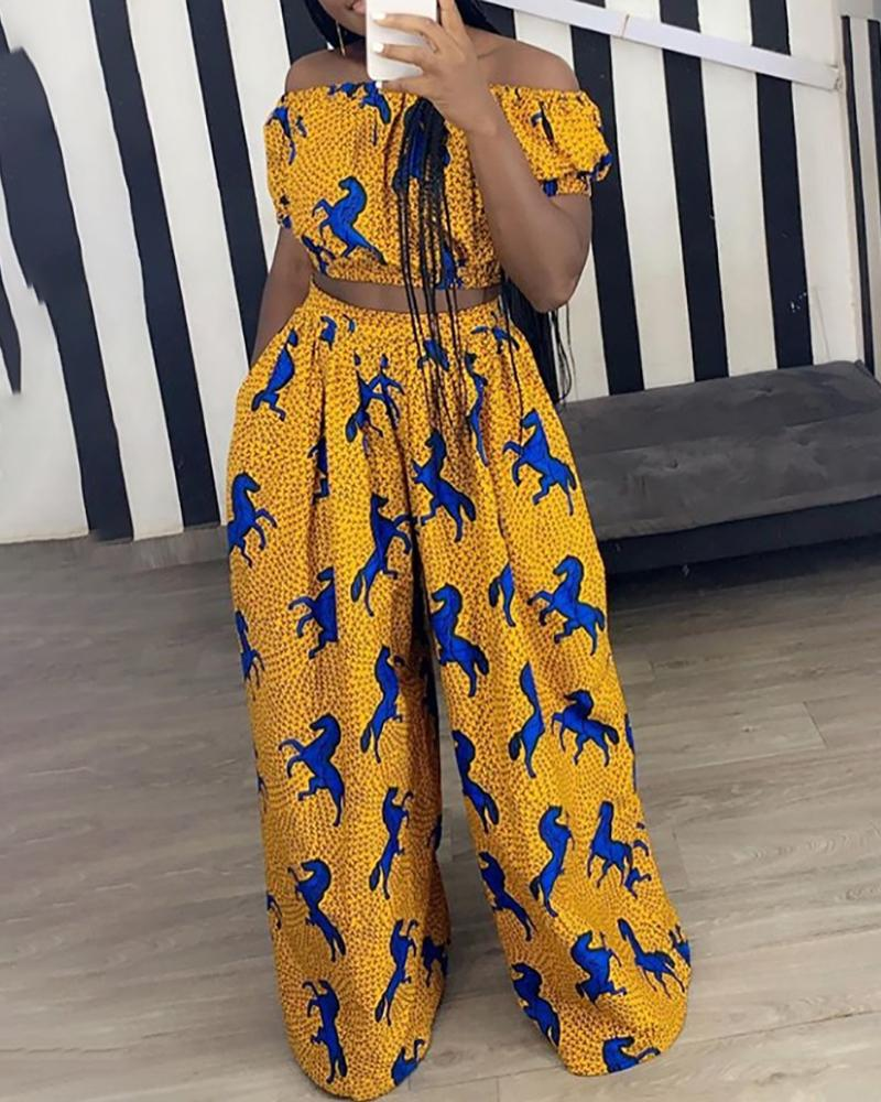 Print Off Shoulder Crop Top & Wide Leg Pant Sets фото