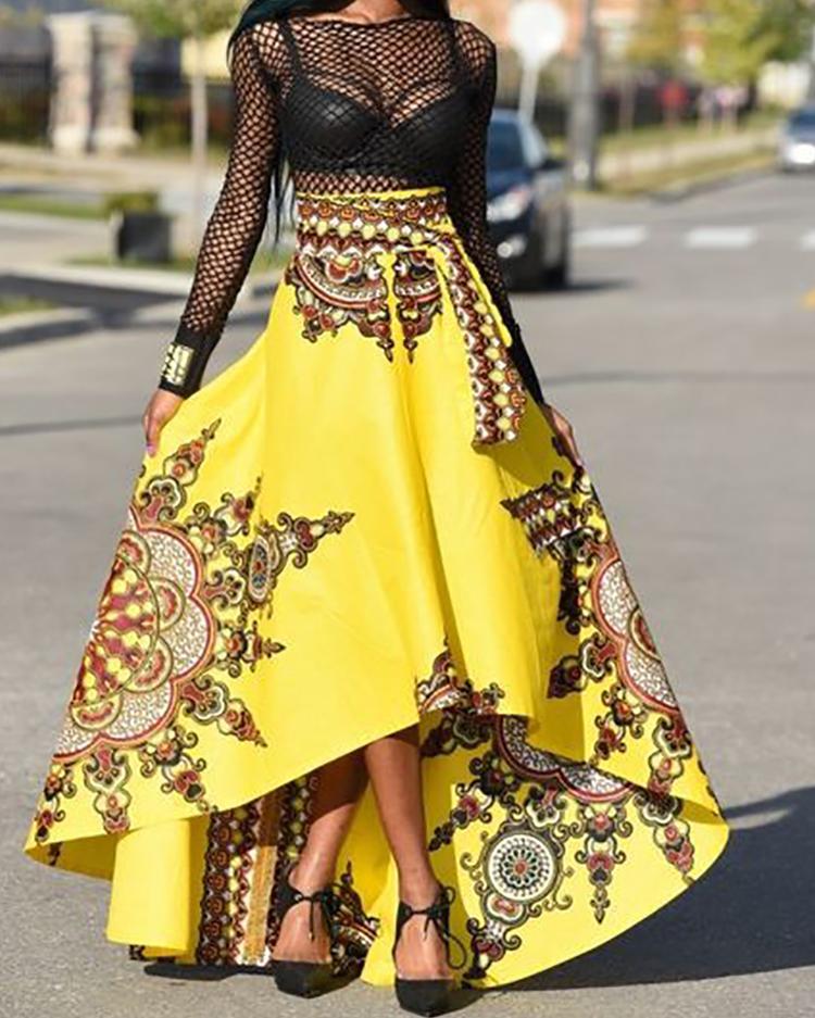 boutiquefeel / Estilo étnico de alta cintura de alta y baja falda maxi