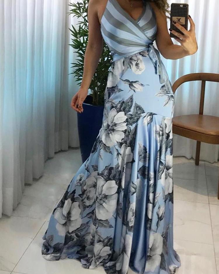 Floral Print Wrapped Tied Side Maxi Dress