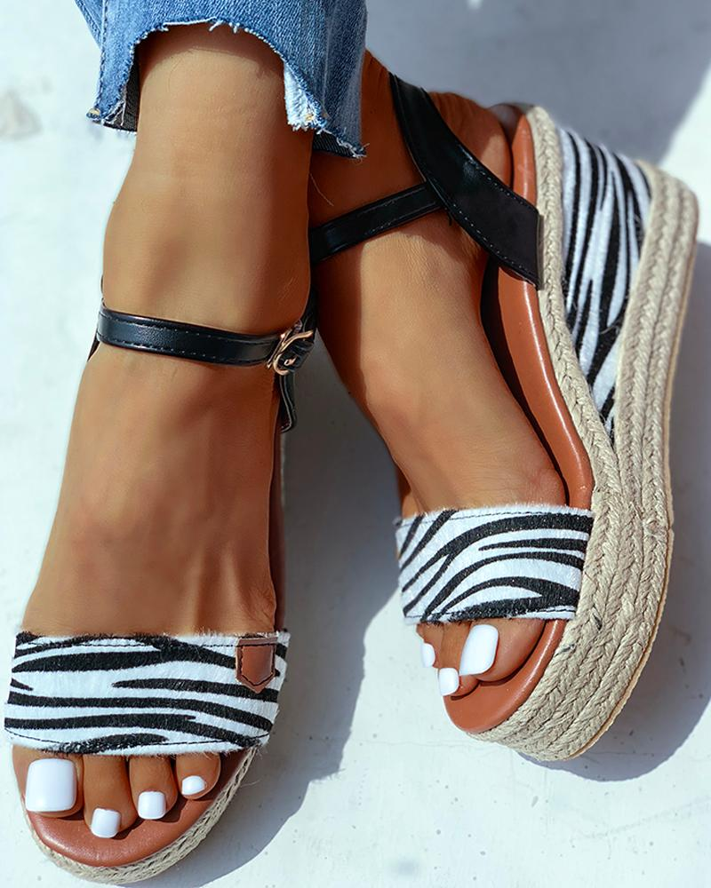 Animal Pattern Ankle Buckled Wedge Espadrille Sandals фото