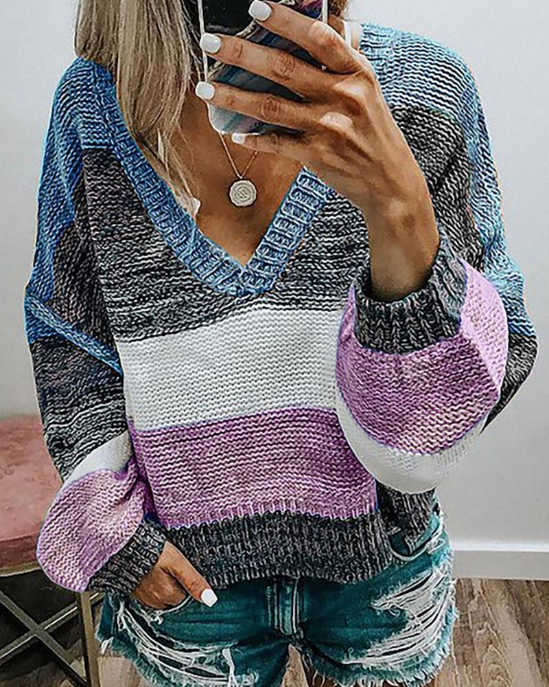 Colorblock Lantern Sleeve Knit Top фото