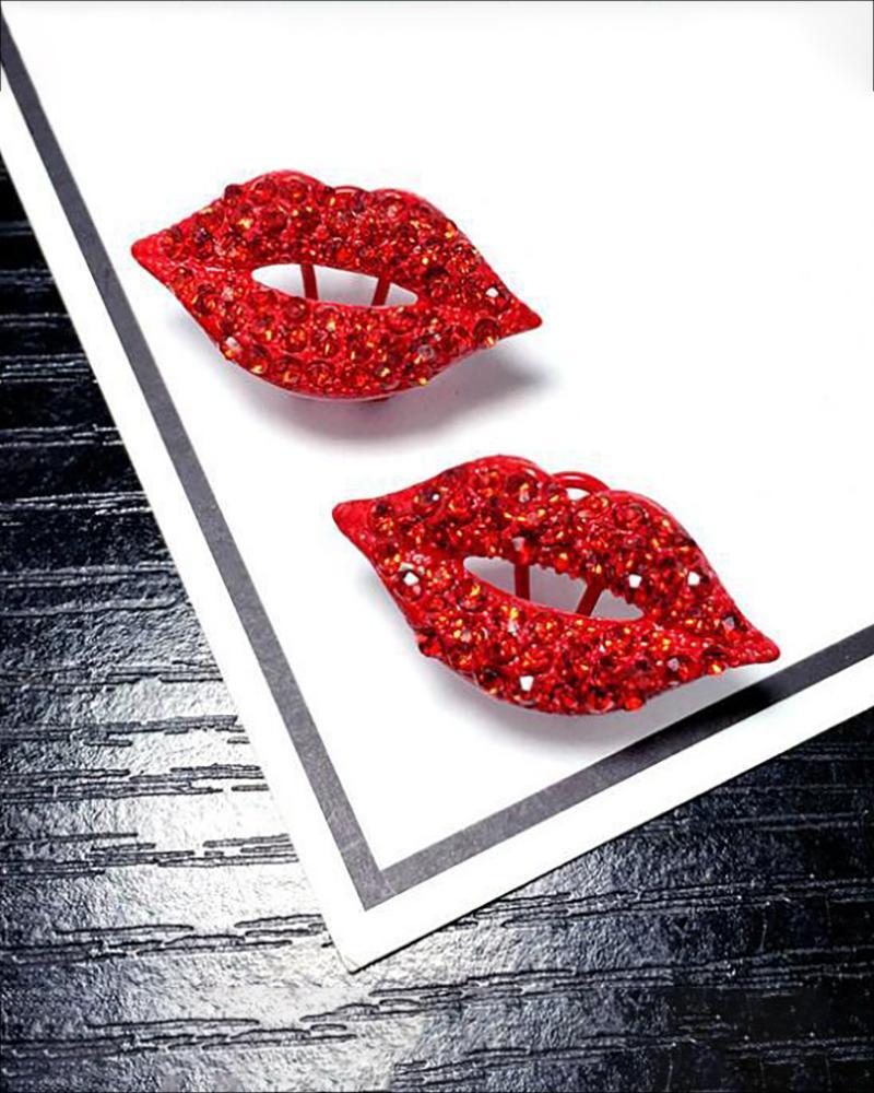 Studded Lip Pattern Earrings фото