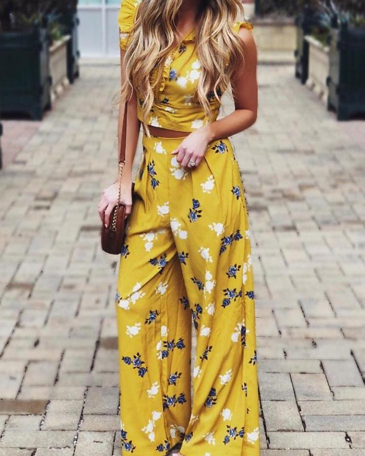 chicme / Floral Print Frills Tie Back Top With Wide Leg Pant Sets