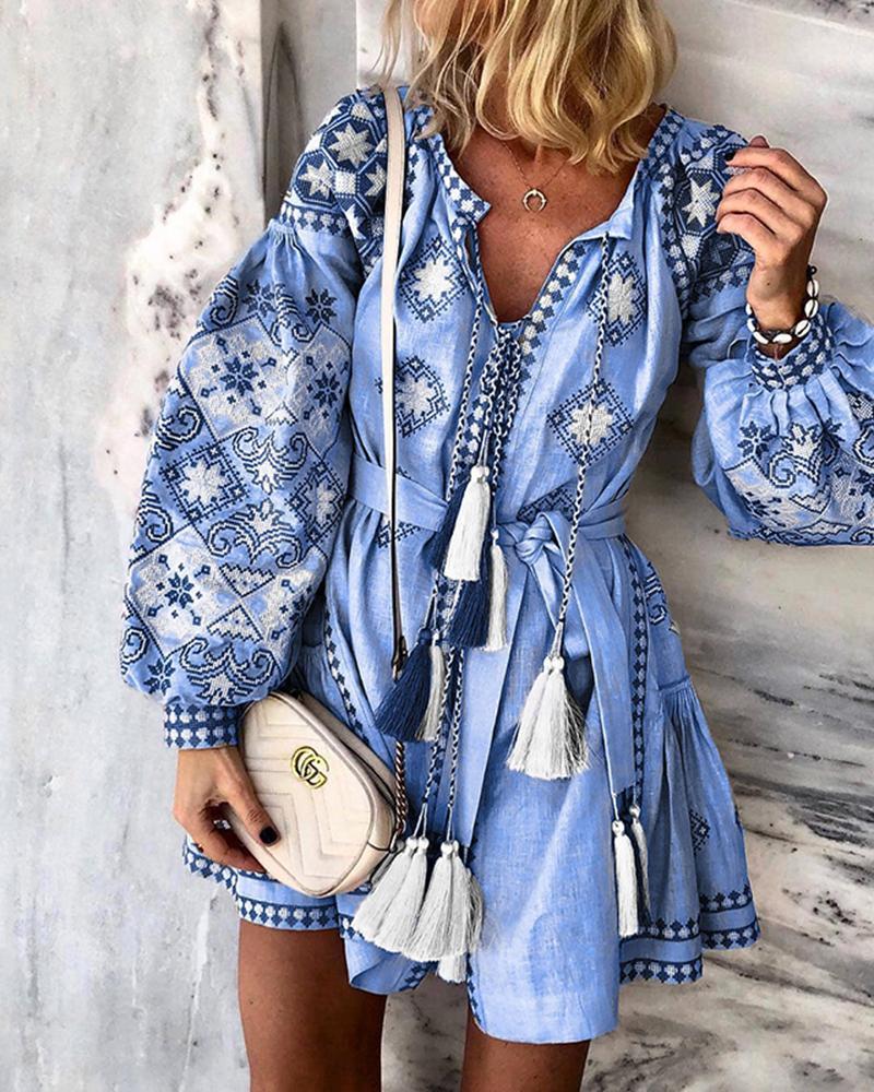 Boho Style Long Sleeve Belted Dress фото
