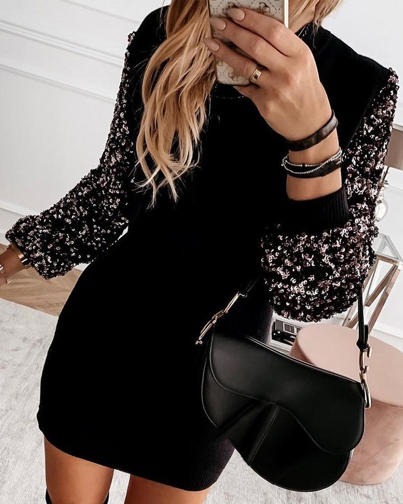 Embellished Sleeve Spliced Mini Dress фото