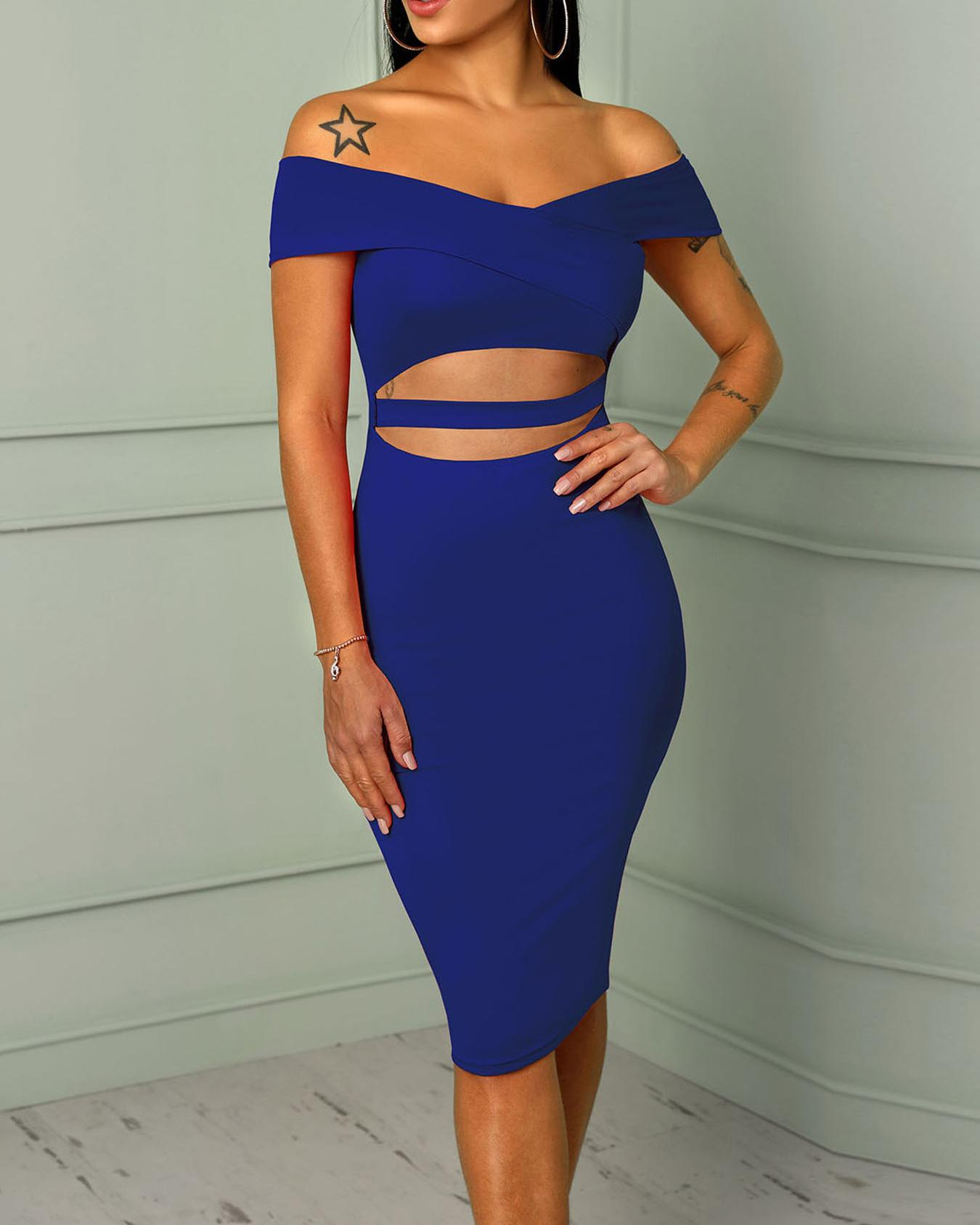 Cross Over Off Shoulder Cut Out Midi Dress