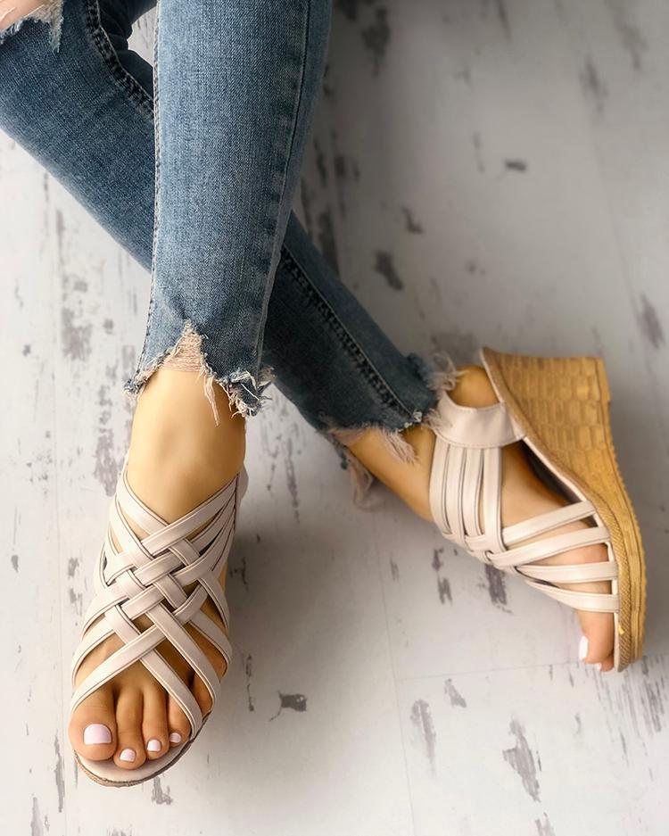 Multi-strap Criss Cross Platform Wedge Sandals