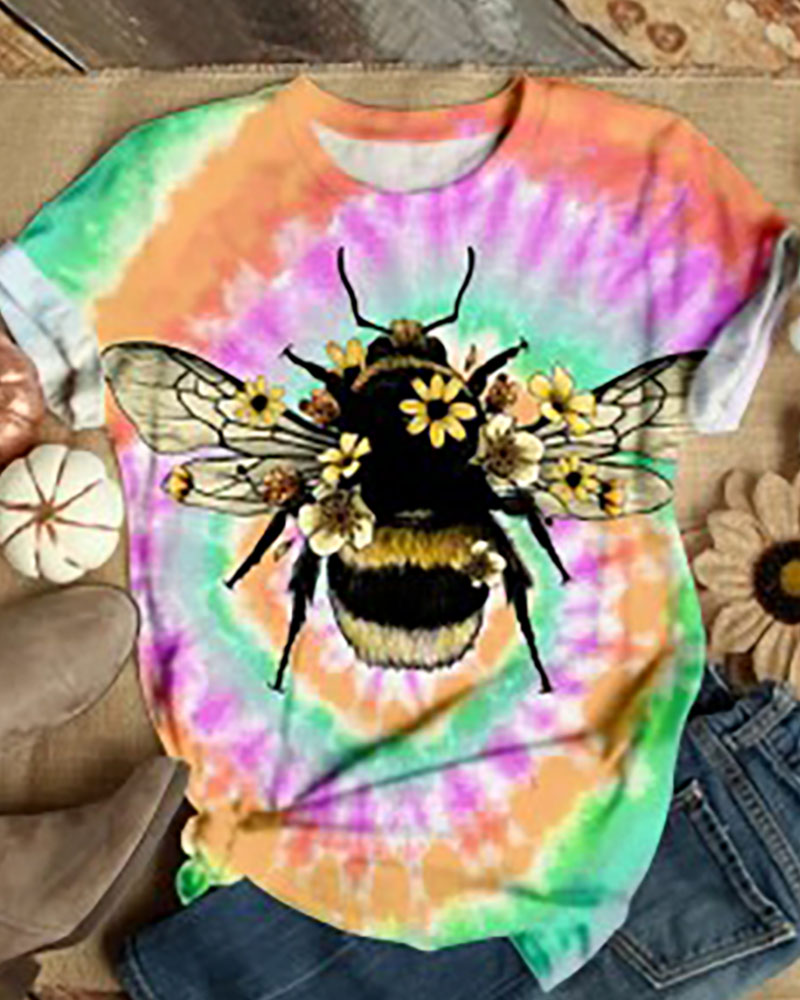 Animal / Tie Dye / Daisy Print Casual T-shirt фото