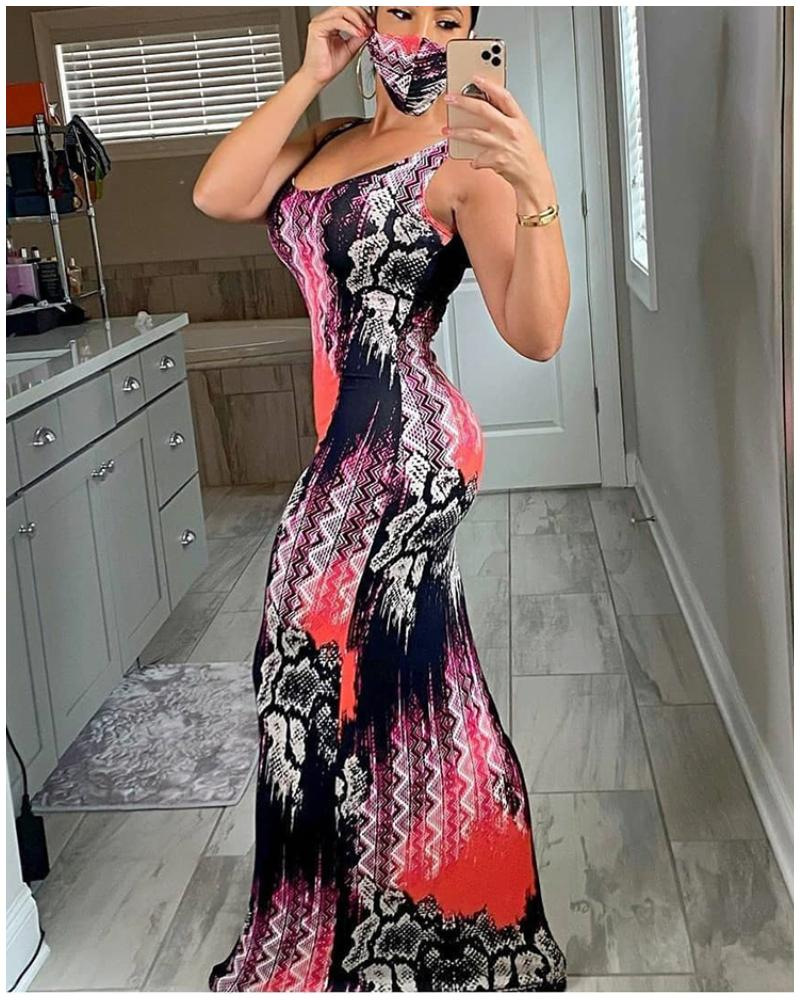 chicme / Snakeskin Colorblock Thick Strap Maxi Dress