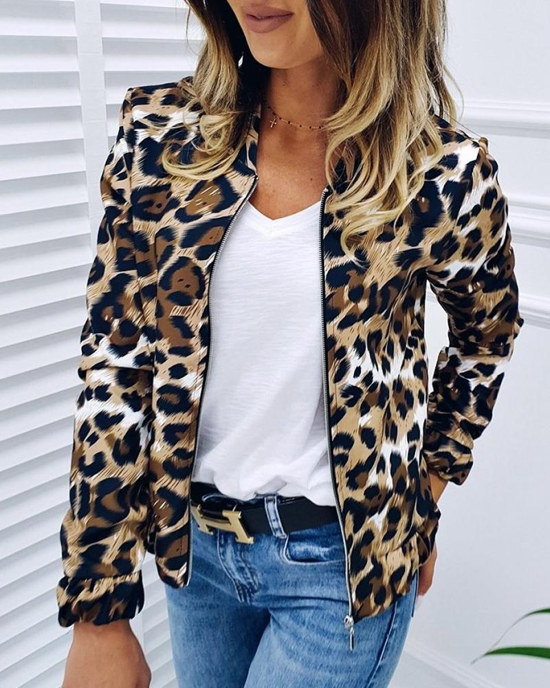 chicme / Jaqueta Casual Leopard Zipper Design