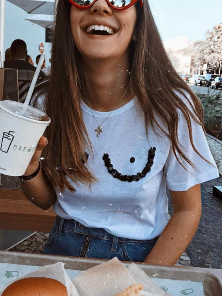 Funny Printed Sequins Solid Short Sleeve Tee
