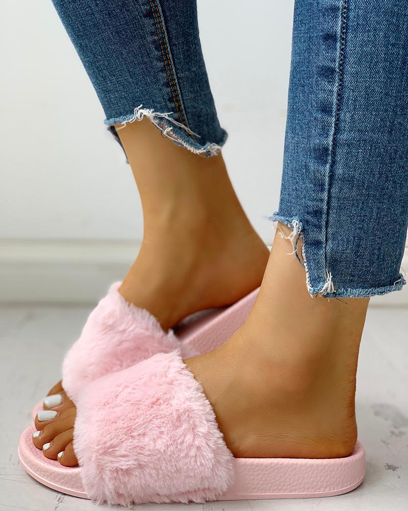 Open Toe Fluffy Flat Sandals фото