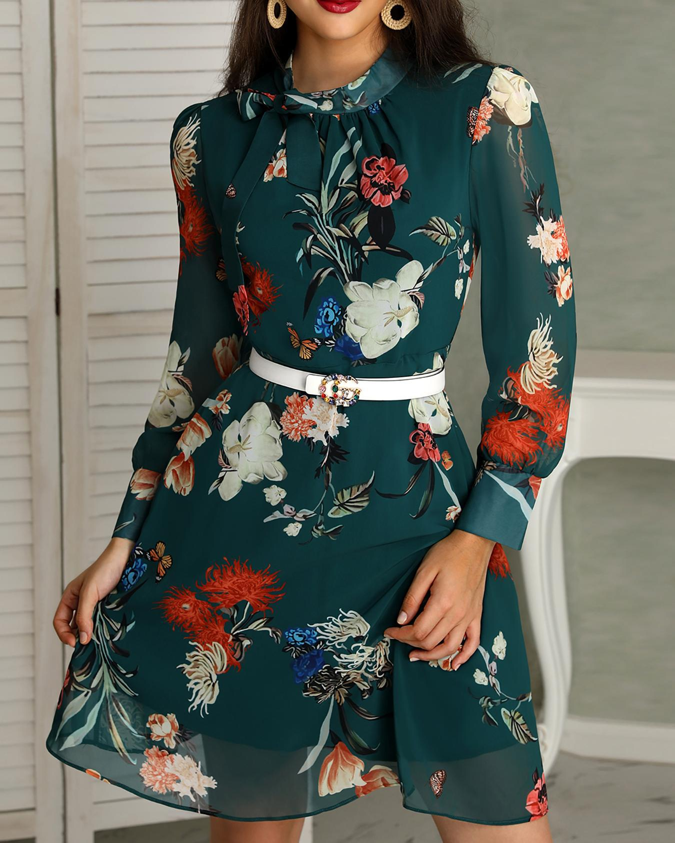 Floral Print Tie Neck Long Sleeve Casual Dress фото