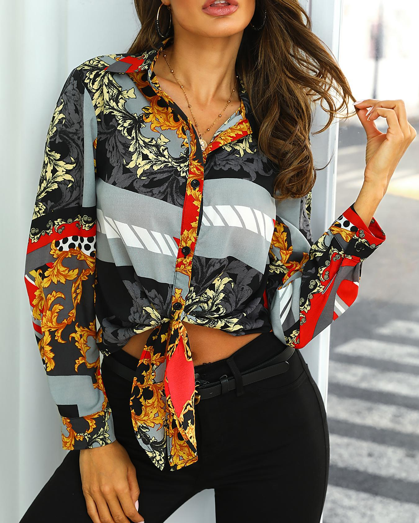 Retro Print Knot Front Crop Blouse фото