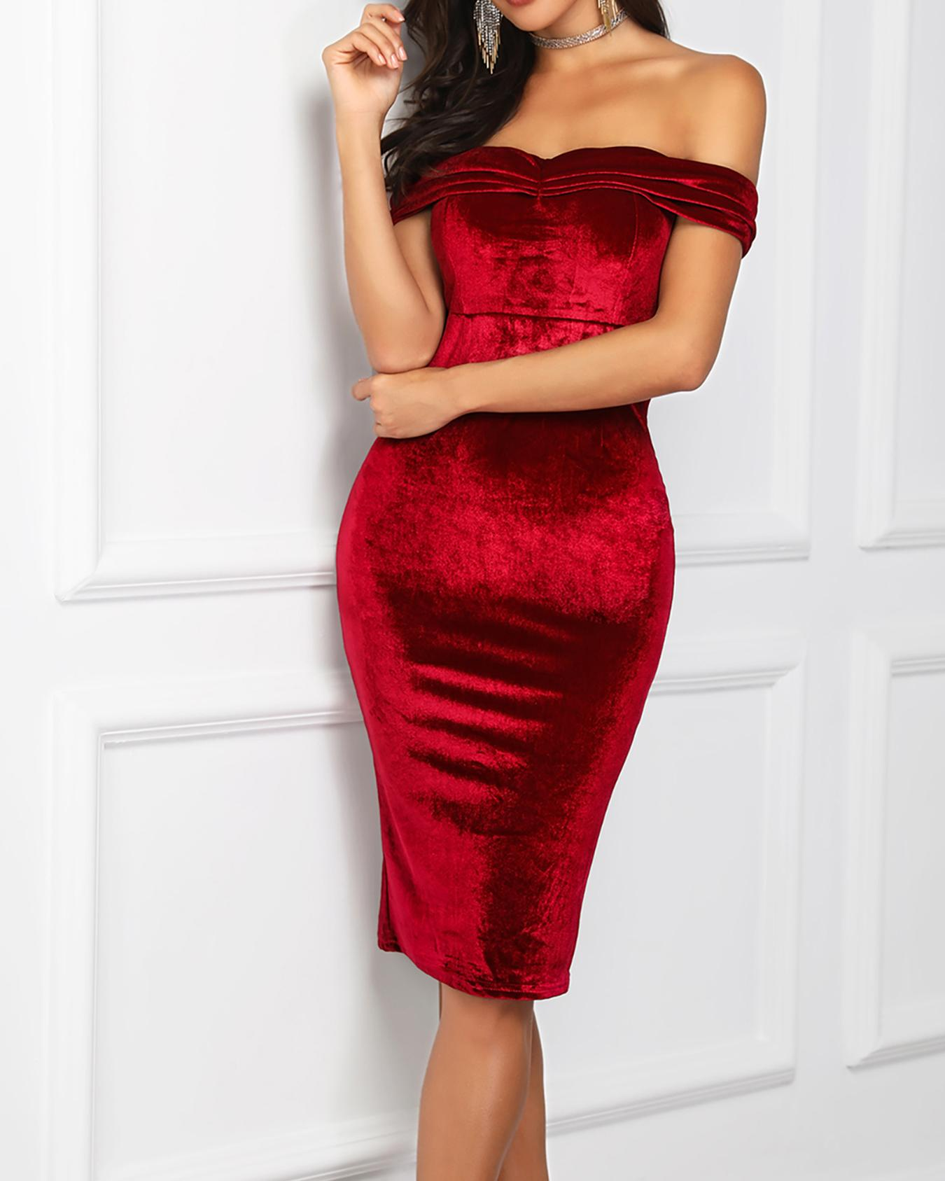 Off Shoulder Ruched Velvet Party Dress