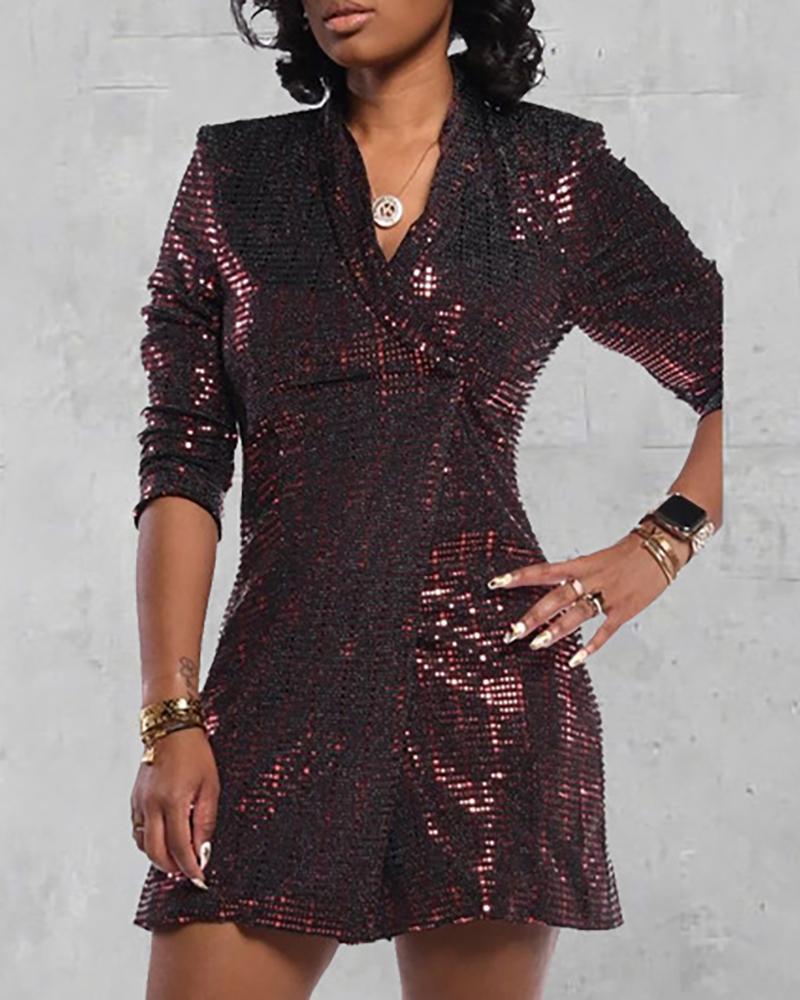 chicme / Vestido blazer de lentejuelas de manga larga con purpurina