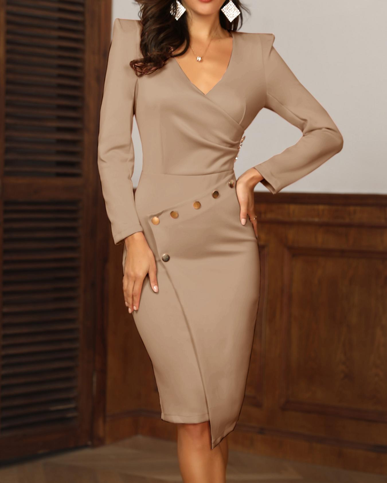 Ruched Button Design Irregular Dress