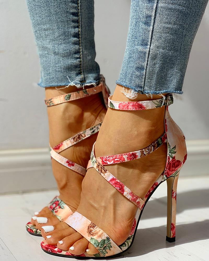 Floral Ankle Strap Thin Heeled Sandals фото