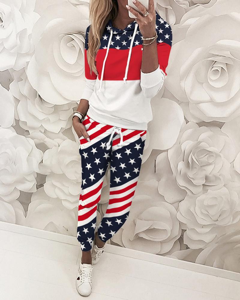 ivrose / Marca Impressão Colorblock Top & Pant Sets
