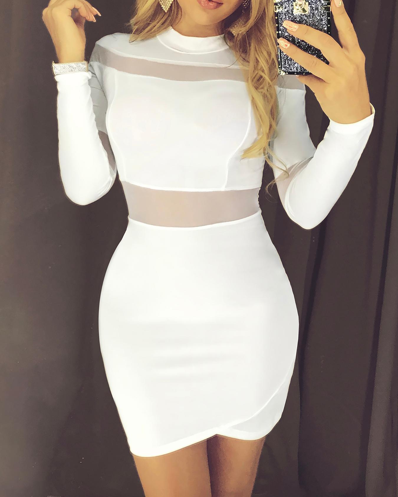 boutiquefeel / Malha de pescoço alta inserir bodycon vestido