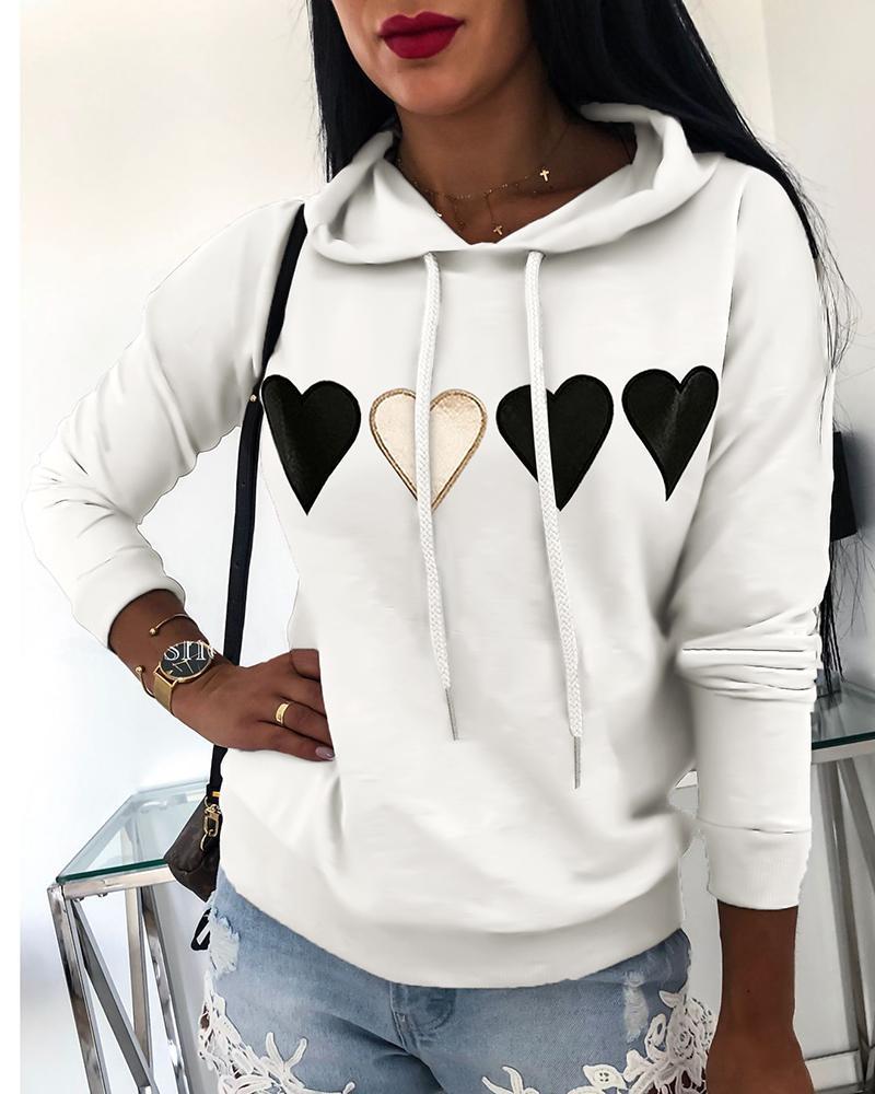 Hooded Drawstring Heart Print Sweatshirt фото