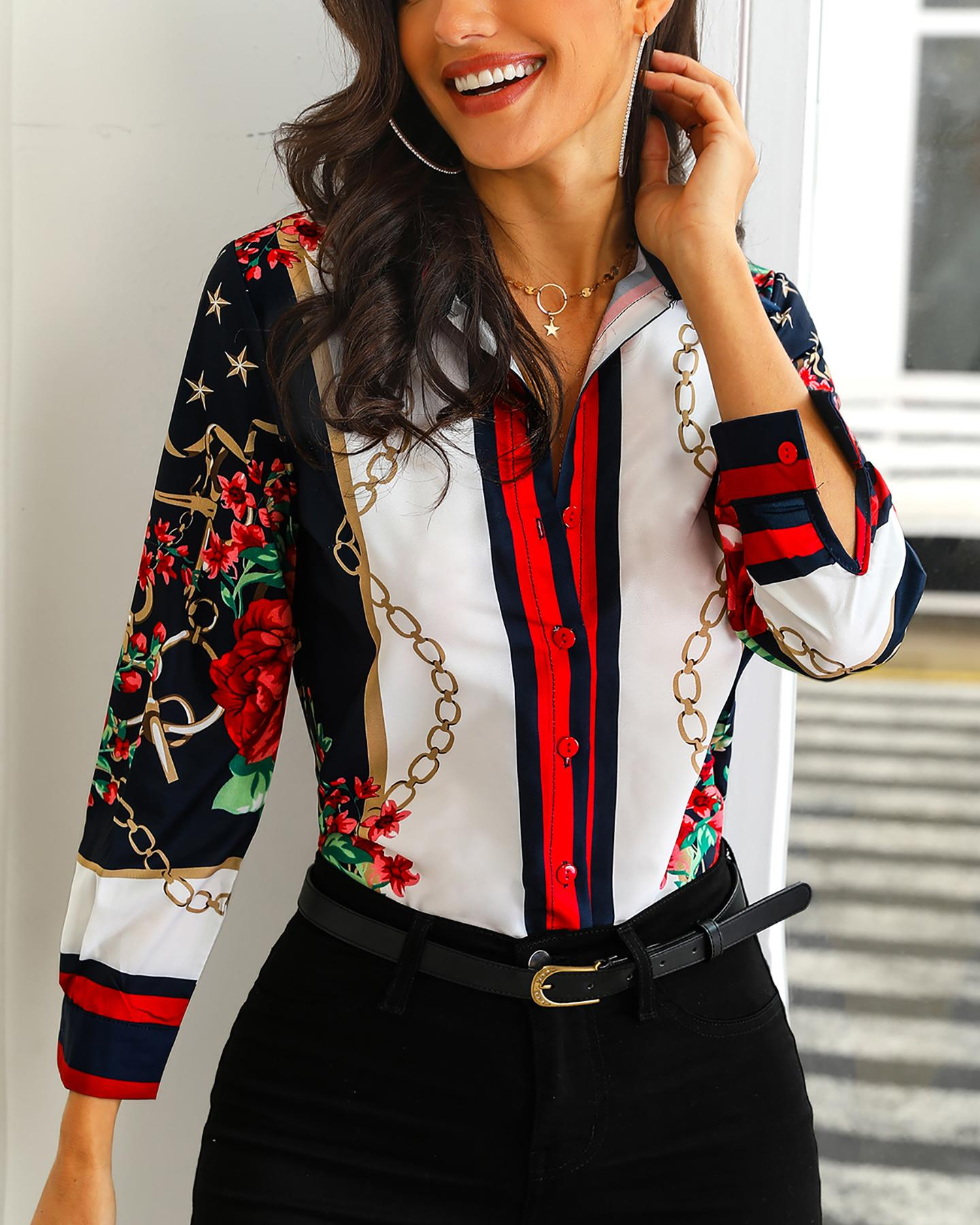 chicme / Floral & Chains Print Casual Blouse